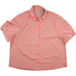 Rózsaszínvirágos drapp blúz (176)