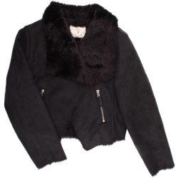 Fekete műirha kabát  (140)