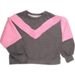 Pink-szürke pulóver (128)