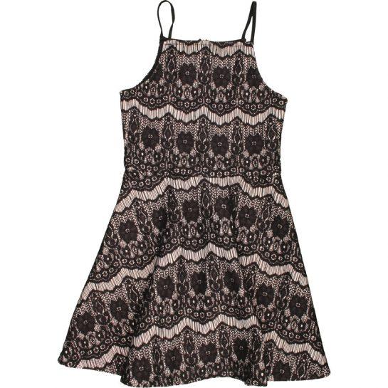 Fekete csipkés ruha (140-146)