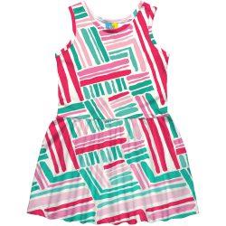 Pink-zöldmintás ruha