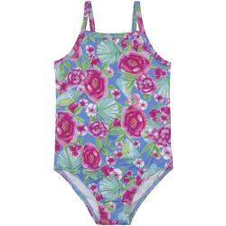 Pinkvirágos kék fürdőruha