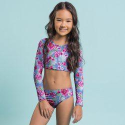 Pinkvirágos kék bikini