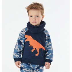 Dínós kék pulóver