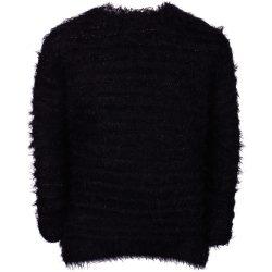 Fekete szőrös pulóver