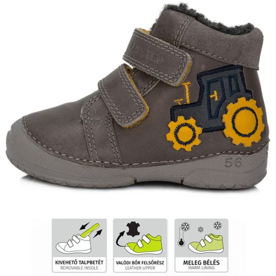 Traktoros szürke bélelt cipő
