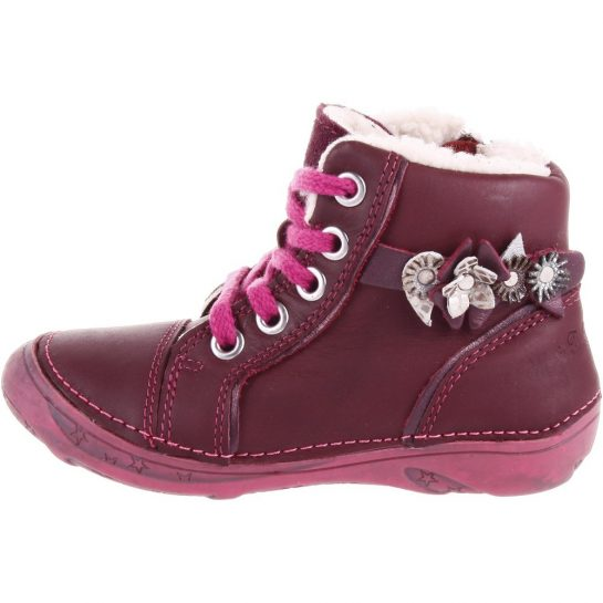 Ezüst-virágos bordó bélelt cipő