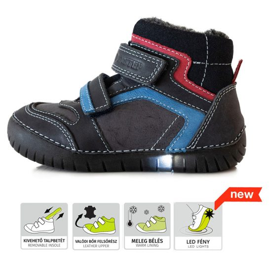 Fekete LED fényű bélelt cipő
