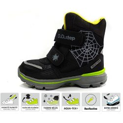 Pókos fekete Aqua-Tex bélelt cipő