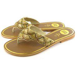Larisa gyöngyös arany papucs