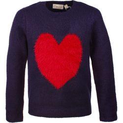 Szíves kék pulóver
