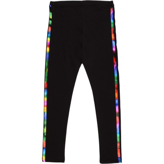 Színescsíkos fekete leggings
