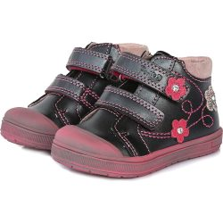 Supinált virágos antracit cipő