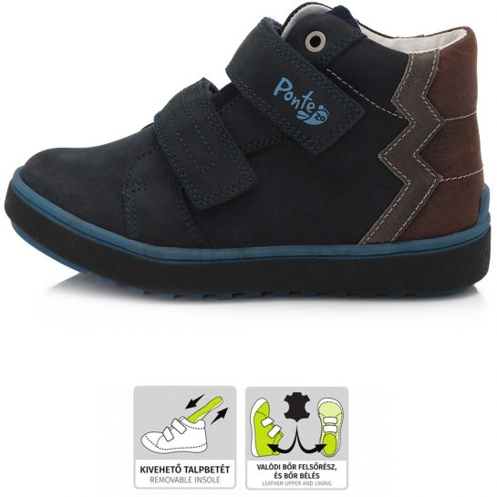 Supinált éjkék-barna cipő