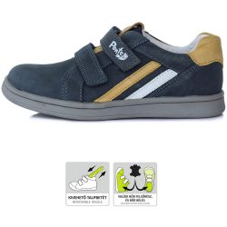 Supinált acélkék-mustár cipő