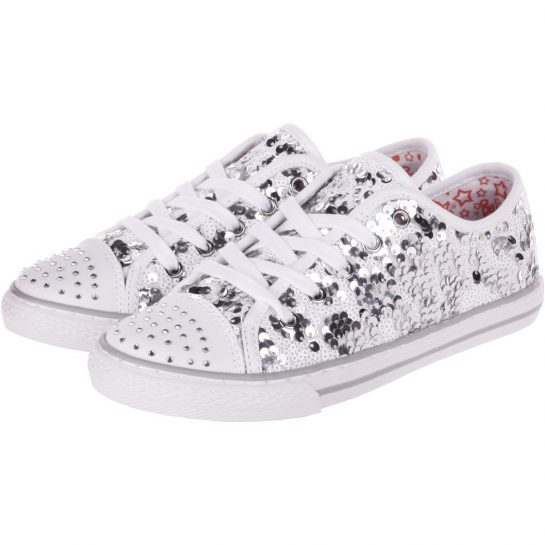 Ezüst-fehér flitteres cipő
