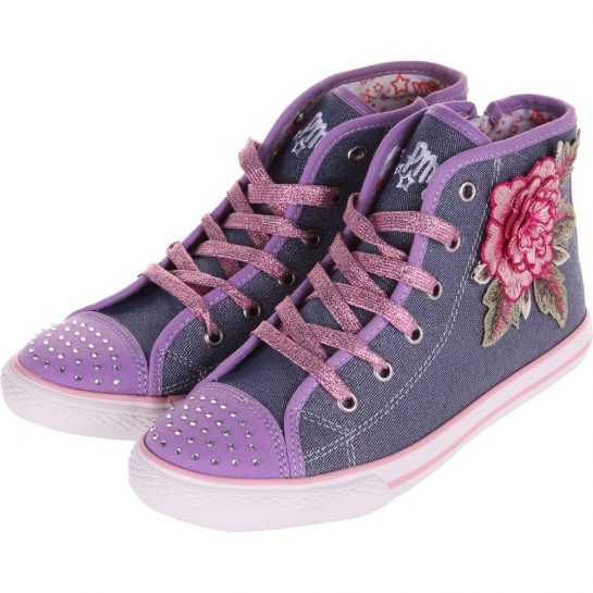 Hímzett-virágos vászoncipő