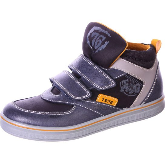 Acélkék-szürke-mustár cipő