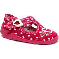 Pöttyös-szíves pink félcipő