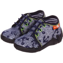 Vasmacskás farmerkék fűzős cipő
