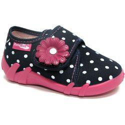 Margarétás pöttyös sötétkék cipő