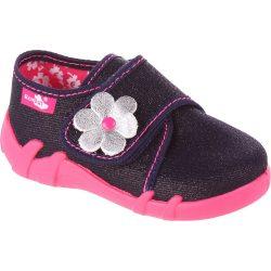 Ezüstvirágos indigó cipő