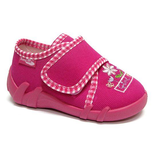 Virágos vastagpántos pink cipő
