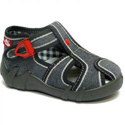 Piros-csatos szürke cipő