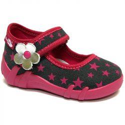 Ezüstvirágos pink-csillagos cipő