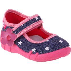 Pinkvirágos-csillagos félcipő