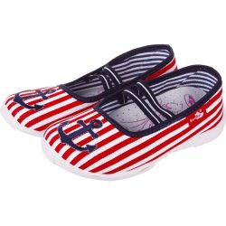 Vasmacskás piros-csíkos cipő