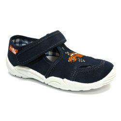 Narancs-autós kék félcipő