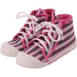 Pink-feketekockás cipő