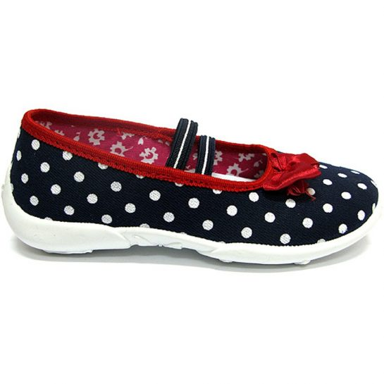 Pirosmasnis pöttyös-kék cipő