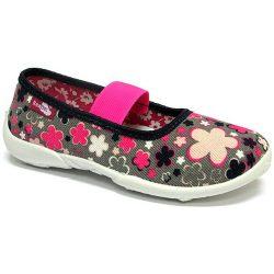 Pink-kékvirágos pink-pántos cipő