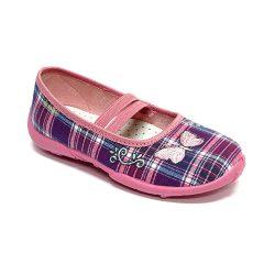 Lepkés lilakockás cipő