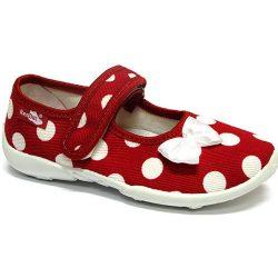 Fehér-masnis pöttyös piros cipő