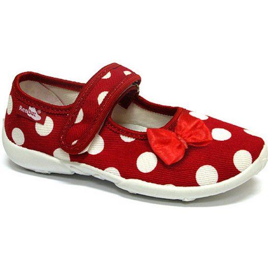 Piros-masnis pöttyös piros cipő